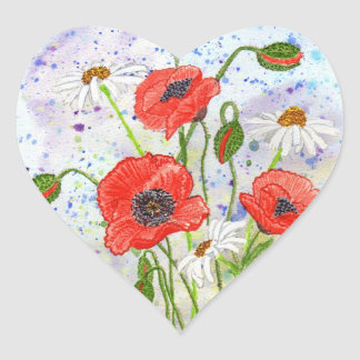 'Poppies' Heart Sticker