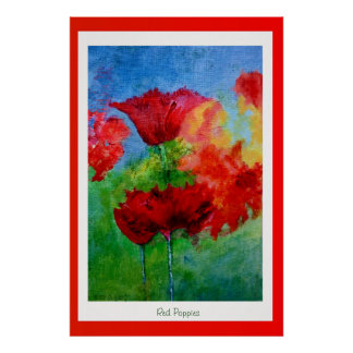 Poppies in a Red Frame Poster