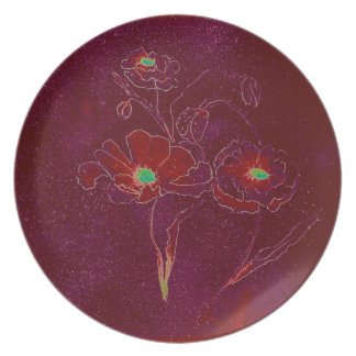 Poppies in Burgundy Plates