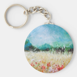 Poppies In The Cornfield Key Chain