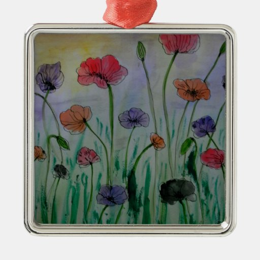 poppies in the meadow square metal christmas ornament