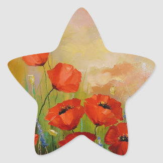 Poppies in the moonlight star sticker