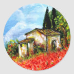 POPPIES  IN TUSCANY CLASSIC ROUND STICKER