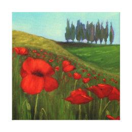 Poppies in Tuscany, Italy I Canvas Print