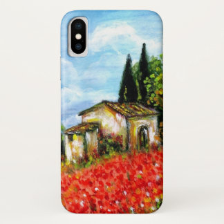 POPPIES IN TUSCANY / Landscape with Flower Fields iPhone X Case