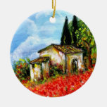 POPPIES IN TUSCANY Double-Sided CERAMIC ROUND CHRISTMAS ORNAMENT