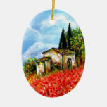 POPPIES IN TUSCANY Double-Sided OVAL CERAMIC CHRISTMAS ORNAMENT