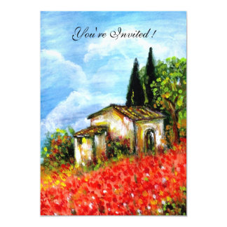POPPIES IN TUSCANY, red, blue,white Card