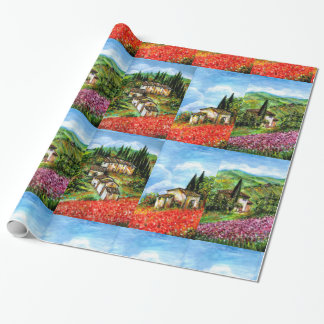 POPPIES, IRISES, ANTIQUE RUSTIC VILLAGE IN TUSCANY WRAPPING PAPER