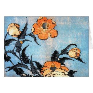 Poppies, Katsushika Hokusai Card