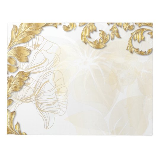 Poppies & Leaves - Gold Notepad