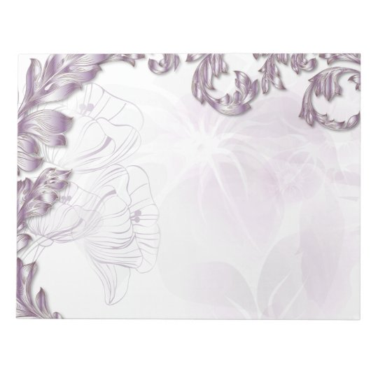 Poppies & Leaves - Lilac & Silver Notepad