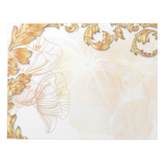 Poppies & Leaves - Tangerine & Gold Notepad