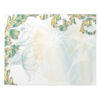 Poppies & Leaves - Teal & Gold Note Pad
