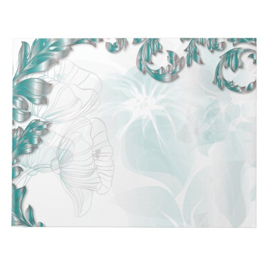 Poppies & Leaves - Teal & Silver Notepad