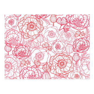 poppies line art pattern post cards