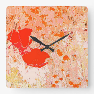 Poppies Meadow Wall Clock