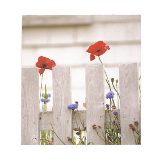Poppies on a Fence - Maine Landscapes Notepad