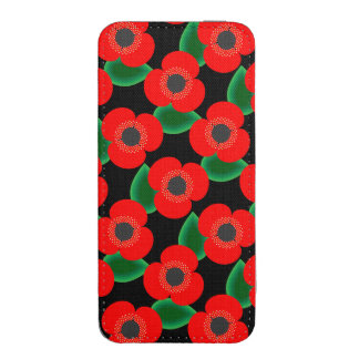 Poppies on Black iPhone SE/5/5s/5c Pouch
