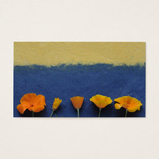 poppies on blue business card