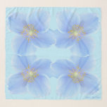 """Poppies on Onahau Blue Background Square Chiffon Scarf<br><div class=""""desc"""">Delicate Himalayan Blue Poppies (Meconopsis 'Lingholm') on Onahau Blue Background Square Chiffon Scarf.  Optional name or initials in bottom right corner (or delete for no personalization).  Design and photos by Claudine Boerner.</div>"""