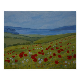 Poppies on the Coast Poster