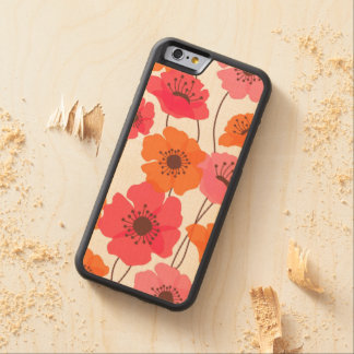 Poppies pattern carved® maple iPhone 6 bumper