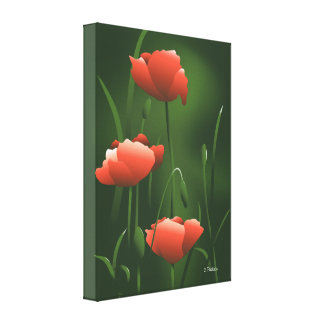Poppies Poppy Flowers Art Wrapped Canvas Print 2
