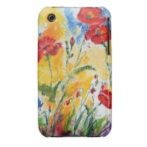 flowers, poppies, red poppies, provence, yellow, red, summer, happy, art, artful, artistic, watercolors, original watercolor paintings, ginette, [[missing key: type_casemate_cas]] com design gráfico personalizado