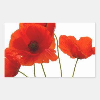 poppies rectangular sticker