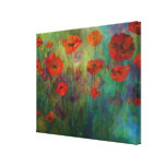 Poppies, Red and Blue Stretched Canvas Fine Art Gallery Wrapped Canvas