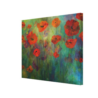 Poppies, Red and Blue Stretched Canvas Fine Art Canvas Print