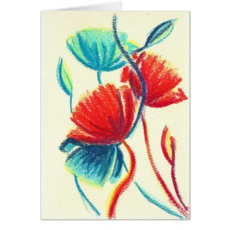 Poppies Red Blue Greeting Card