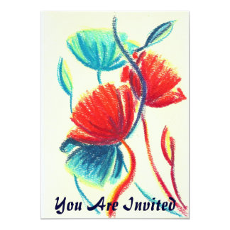 Poppies Red Blue Invitation, You Are Invited Card