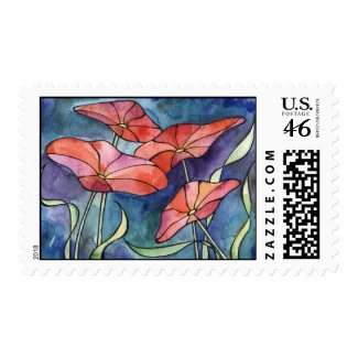 Poppies red flowers Postage stamp stamp