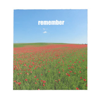 Poppies remember memo notepad