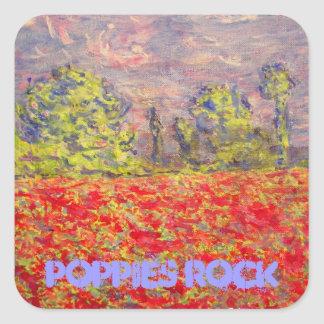 poppies rock art square sticker