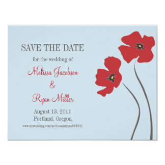 Poppies Save the Date 4.25x5.5 Paper Invitation Card