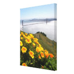 Poppies smile at the  Golden Gate Bridge 11x14x.75 Gallery Wrap Canvas