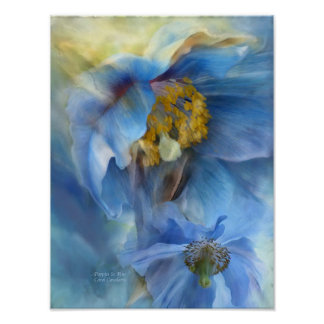 Poppies So Blue Art Poster/Print