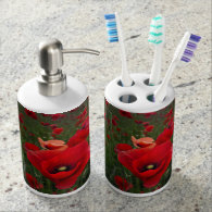 Poppies Soap Dispenser and Tooth Brush Holder