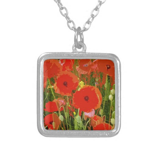 POPPIES SQUARE PENDANT NECKLACE