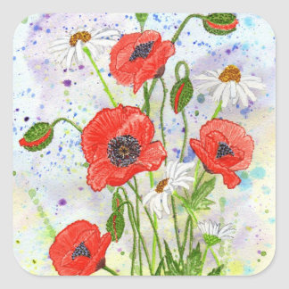 'Poppies' Square Sticker