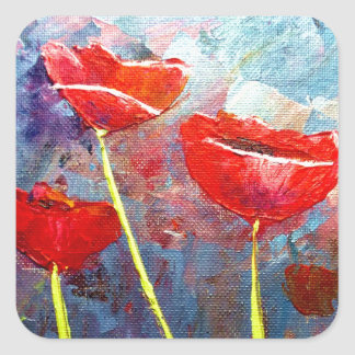 Poppies Square Stickers