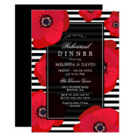 Poppies & Stripes - Black & Red Rehearsal Dinner Invitation
