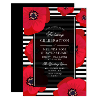 Poppies & Stripes - Black & Red Wedding Card