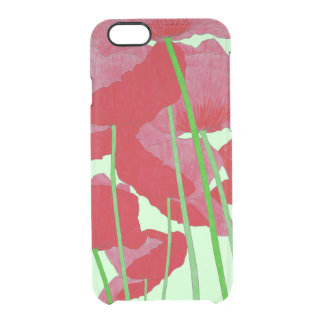 Poppies Watercolor Design Bright Red and Green Clear iPhone 6/6S Case
