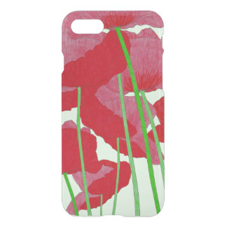 Poppies Watercolor Design Bright Red and Green iPhone 7 Case