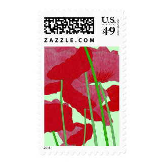 Poppies Watercolor Design Bright Red and Green Stamp