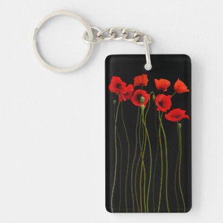 Poppies Watercolor painting Keychain